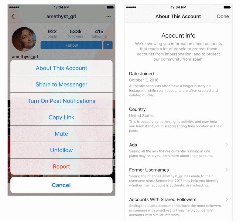 Сведения об аккаунтах Instagram